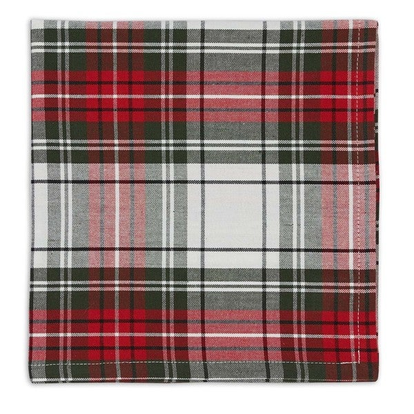 Red/Multicolor Cotton Christmas Plaid Napkins (Pack of 6)
