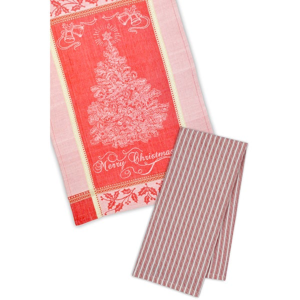 Merry Christmas Tree Cotton Dishtowel (Pack of 4)