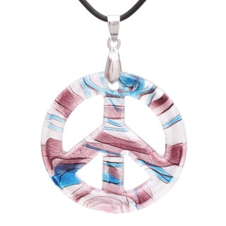 Handmade Italian Murano-style Glass Whimsical Themed Peace Sign Pendant (United States)