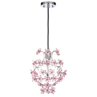 "Safavieh Lighting 12-inch Raz Floral Chrome/ Pink Adjustable Pendant Lamp - 11.75""x11.75""x16.5-88.5"""