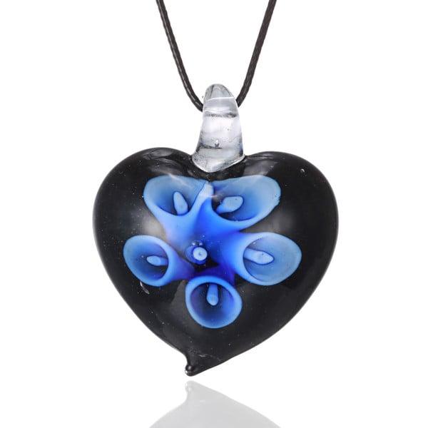 Bleek2Sheek Handcrafted Italian Murano-style Glass Aqua Blue Hidden Flower Heart Quality Fashion Pendant Necklace