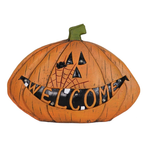 Exhart 'Welcome' Orange Resin Pumpkin Statue with Timer