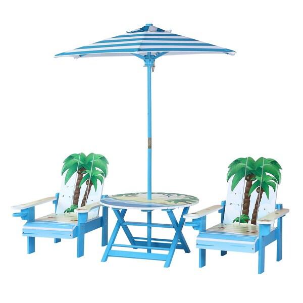 O'Kids Palm Tree Adirondack Table and Chairs Set