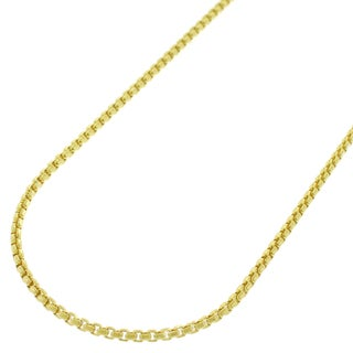 14K Yellow Gold 1.3MM Round Box Link Necklace Chains, Gold Chain for Men & Women, 100% Real 14K Gold, Capital Jewelry
