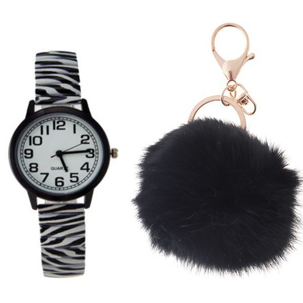 Women's Zebra Animal Print Stretch Band Watch Black Case White Dial Black Arabic Numberals Pom Pom Key Chain Set