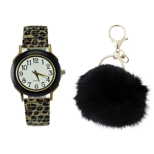 Women's Animal Print Stretch Band Watch Black Faux Marble Case White Dial Rabbit Fur Pom Pom Key Chain Set