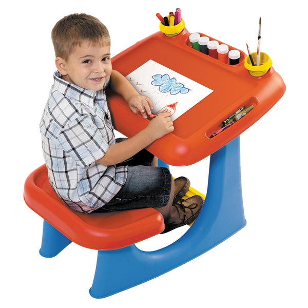 Keter Sit & Draw Kids Red Drawing Table and Chair Indoor Art Desk