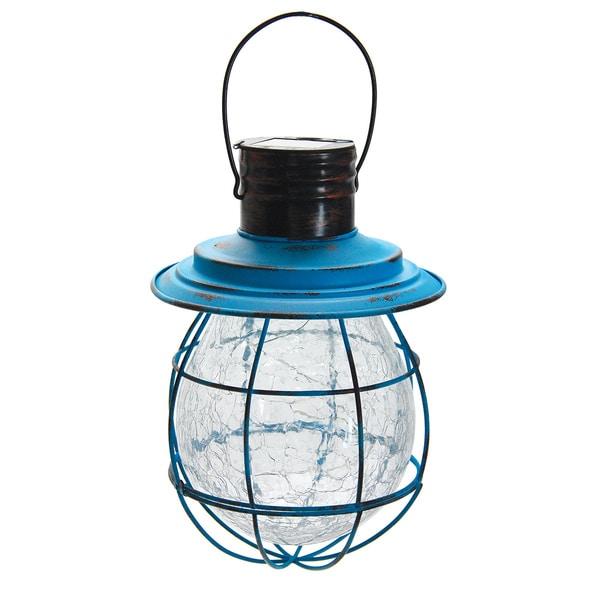 Exhart Blue Metal/Glass Hanging Solar Lantern LED String Lights