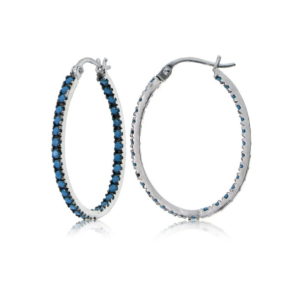 Glitzy Rocks Sterling Silver Simulated Turquoise Stone Inside Out 20mm Oval Hoop Earrings