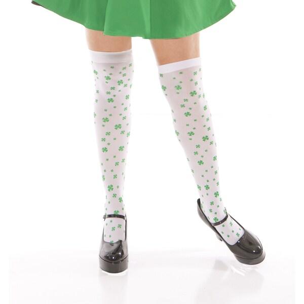 Elegant Moments Women's White Acrylic Four-leaf Clover Thigh-high Socks