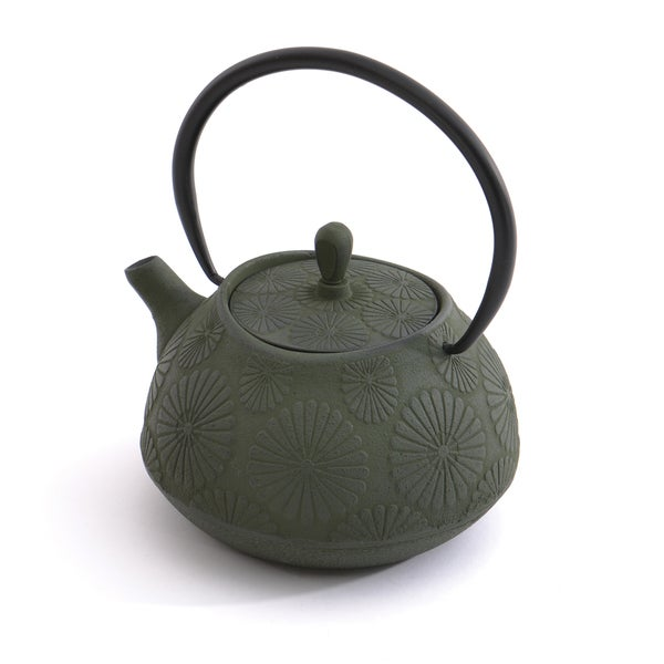 Studio Dark Green Flower Cast Iron 3.5-cup Teapot