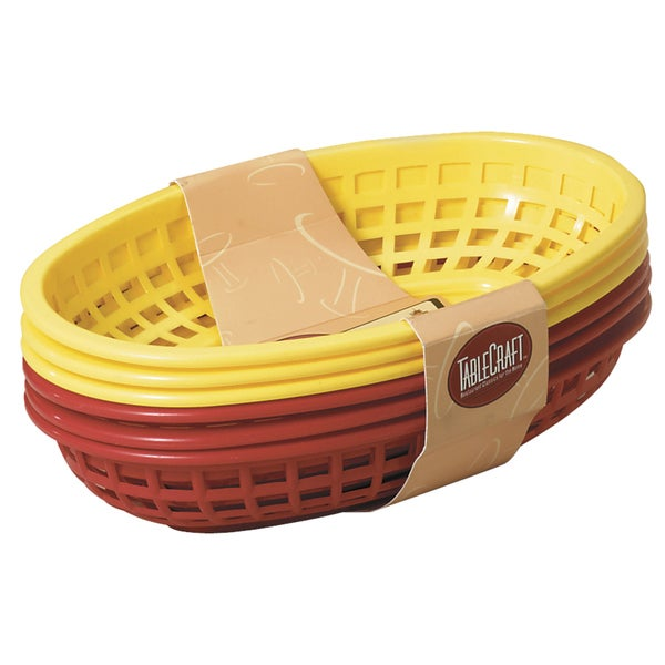 "TCP Tablecraft H1074RY-6 6 Piece 9"" Assorted Red & Yellow Sandwich & Fry Basket Set"