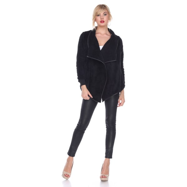 Stanzino Women's Black Faux Fur Waterfall Long-sleeved Cardigan