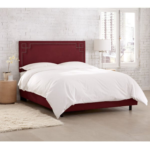 Skyline Furniture Velvet Berry Nail Button Bed