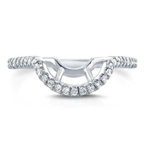 Annello by Kobelli 14k White Gold 1/5ct TDW Diamond Curved Enhancer Type Wedding Band (G-
