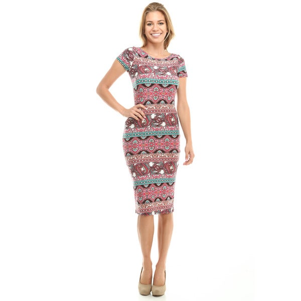 Paisley Pattern Cutout Sheath Dress