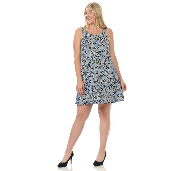 Women's Plus Size Sleeveless Floral Print Dress