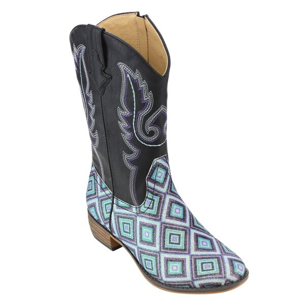 Betani FE24 Girl's Kids Western Embroidered Mid-calf Cowgirl Block-heel Boots