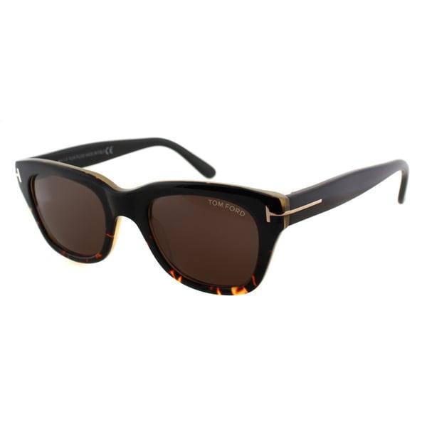 Tom Ford TF 237 05J Snowdon Black Havana Plastic Rectangle Brown Lens Sunglasses
