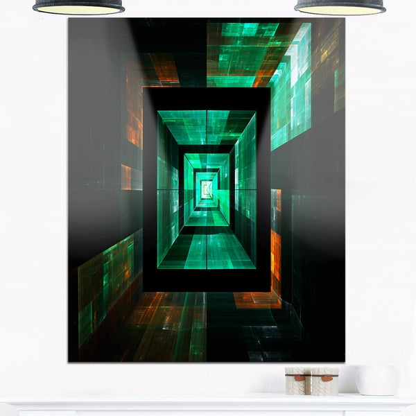 Deep Green Infinite Cube - Abstract Art Glossy Metal Wall Art