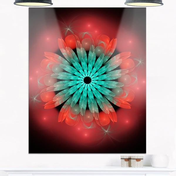 Fractal Blooming Blue Red Flower - Floral Art Glossy Metal Wall Art 20876868
