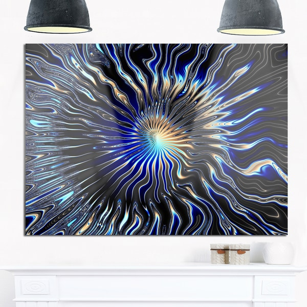 Blue Rays from the Circle - Abstract Art Glossy Metal Wall Art 20877052