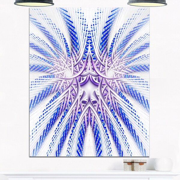 Light Blue Unique Fractal Flower Design - Large Abstract Glossy Metal Wall Art 20877612
