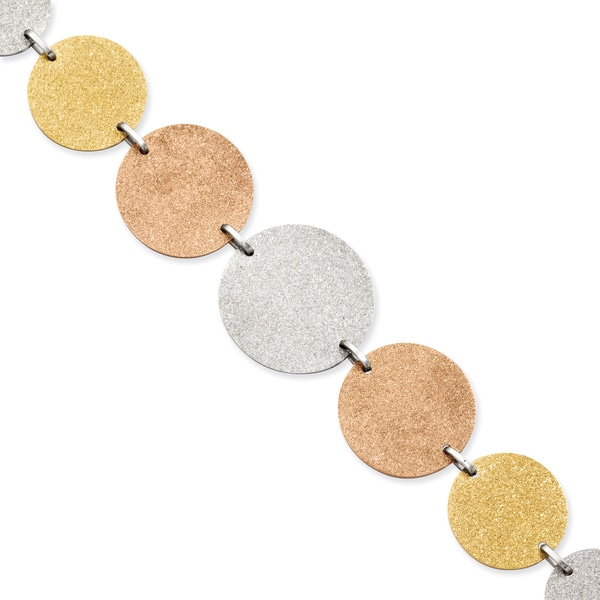 Tri-color Stainless Steel Disc Bracelet