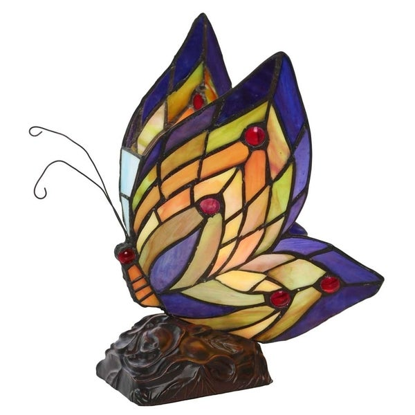 Multicolored Glass/Resin/Brass Butterfly Wings Accent Lamp 20878086
