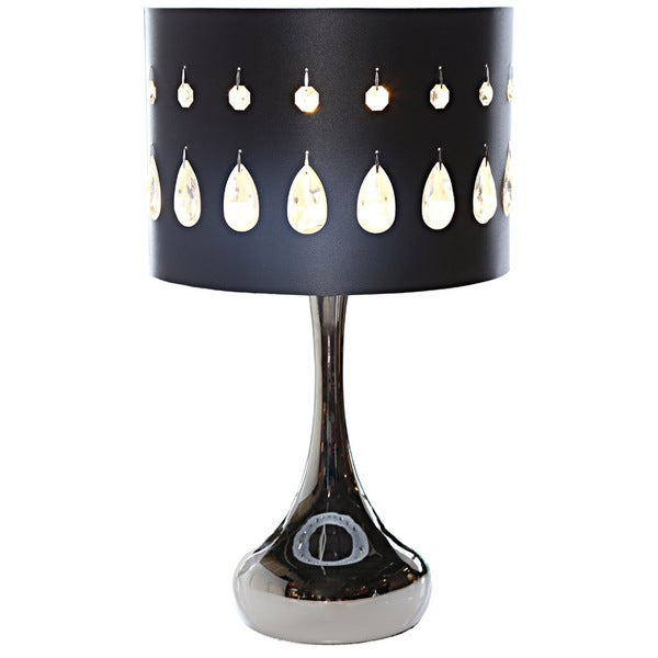 River Of Goods Silver Crystal Noir 21 Inch High Table Lamp