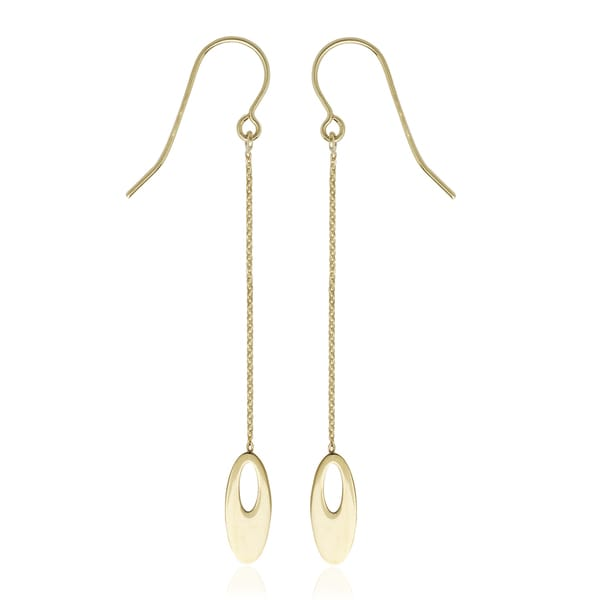 10K Yellow Gold Flat Graduated Oval Bead Drop Earring