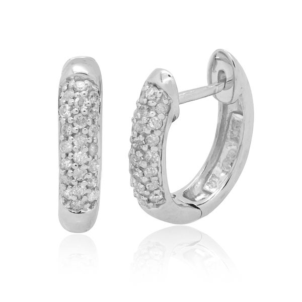 10k White Gold 1/4ct TDW Diamond Pave Set Oval Hoop Earring (H-I, I2-I3)