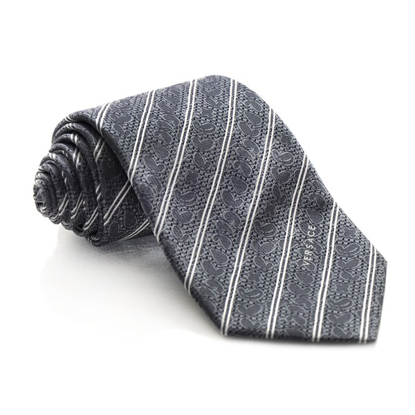Versace Grey Striped Tie