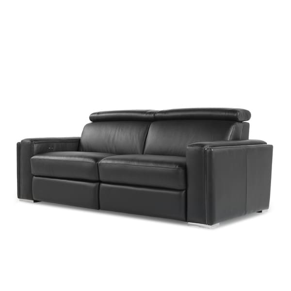 Ellie Black Full Top Grain Leather Motion Recline Sofa
