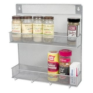 YBM Home Stainless Steel Mesh 2-tier Spice Rack With Hooks
