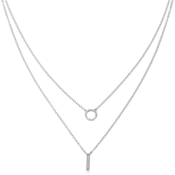 Fremada Sterling Silver with Cubic Zirconia Bar And Circle Layered Necklace