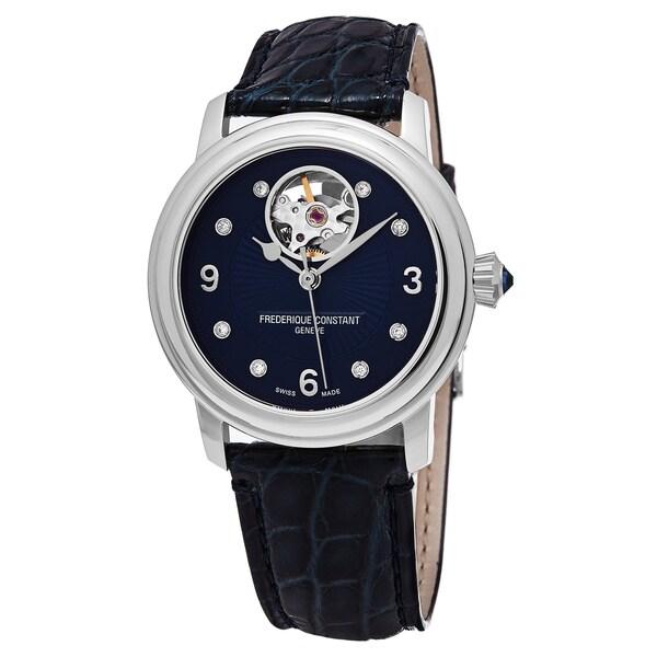 Frederique Constant Women's FC-310HBAND2P6 'Heart Beat' Blue Diamond Dial Blue Leather Strap Swiss Automatic Watch