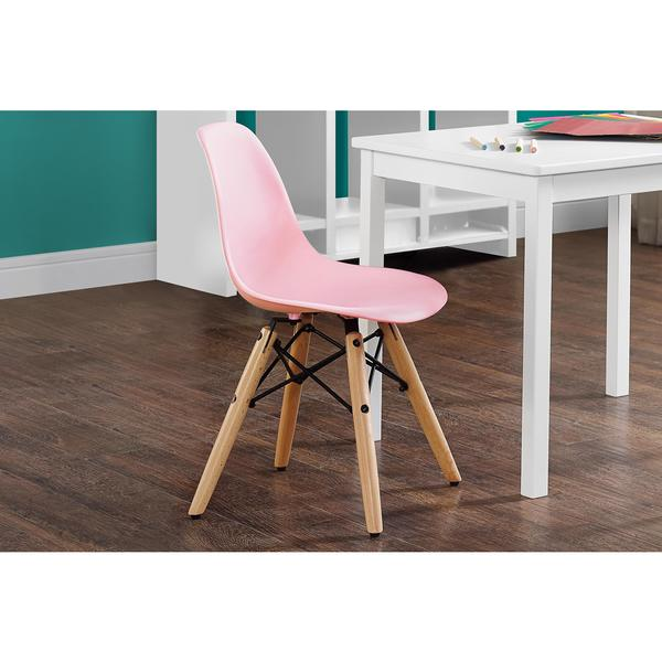 DHP Kids Pink Molded Chair with Wood Leg 20880123