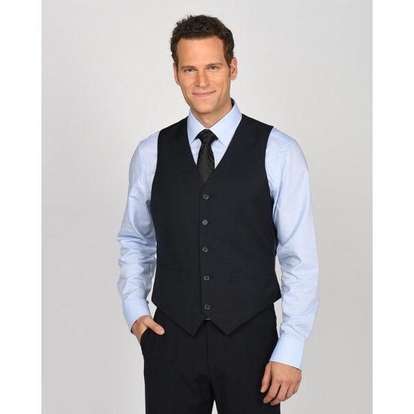 Dockers Suit Separates Navy Polyester/ Rayon Stripe Vest