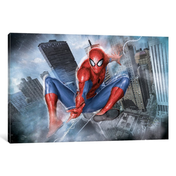 iCanvas Ultimate Spider-Man: Swinging Through The City Classic Situational Art by Marvel Comics Canvas Print 20881601