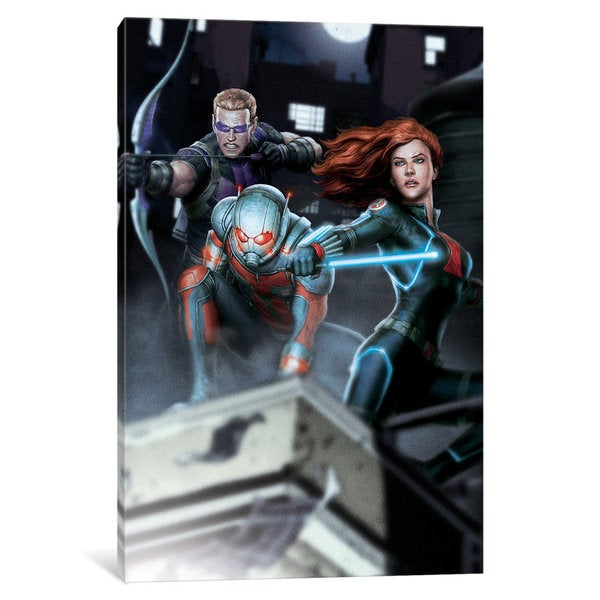 iCanvas Avengers Assemble: Classic Rooftop Situational Art (Hawkeye, Ant-Man & Black Widow) by Marvel Comics Canvas Print