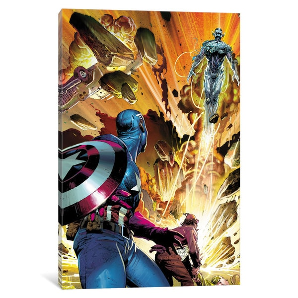 iCanvas Avengers Assemble: Captain America Watching Ultron Lift Off Classic Panel Art by Marvel Comics Canvas Print