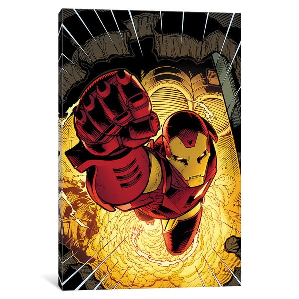 iCanvas Avengers Assemble: Iron Man Panel Art: Lifting Off by Marvel Comics Canvas Print