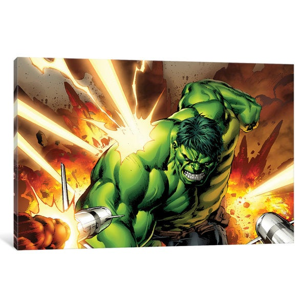 iCanvas Avengers Assemble: Hulk Classic Artwork: Charging Into A Rocket Assault by Marvel Comics Canvas Print
