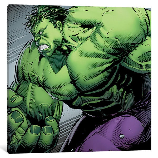 iCanvas Avengers Assemble: Hulk Panel Art: Charging Forward by Marvel Comics Canvas Print