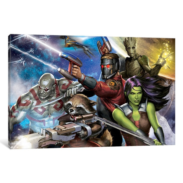 iCanvas Guardians Of The Galaxy: Group Situational Poses (Galaxy Background) by Marvel Comics Canvas Print