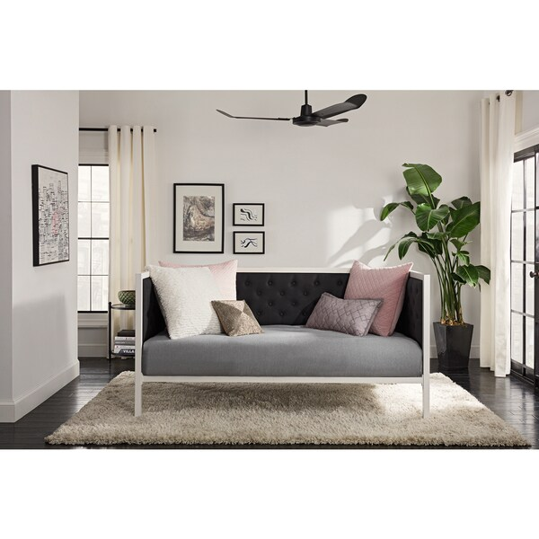 DHP Soho White Metal with Black Linen Modern Twin Daybed