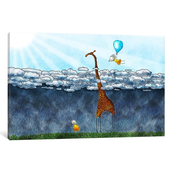 iCanvas Giraffe Over The Clouds by Unknown Artist Canvas Print