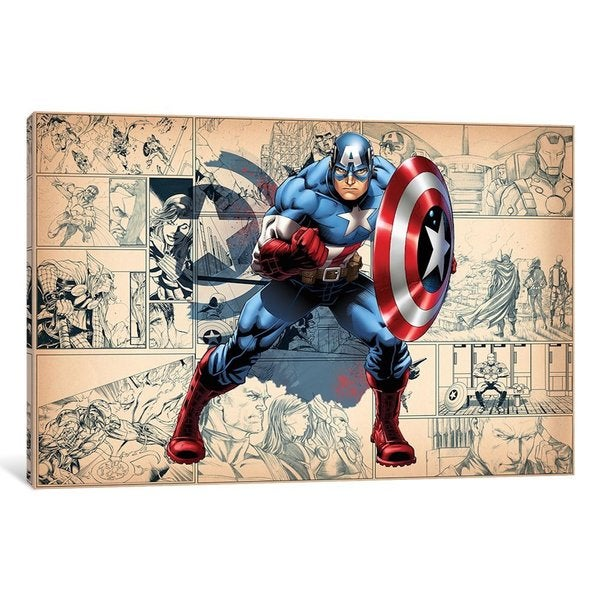 iCanvas Comics (Avengers) - Captain America On Comic Panels by Marvel Comics Canvas Print