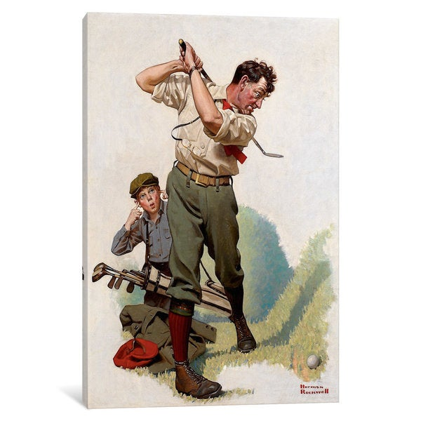 iCanvas The Golfer by Norman Rockwell Canvas Print